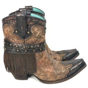 Corral Cowboy Boots Stud Strap Shorties Ankle 8.5